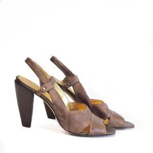 TAHARI    bronze formal heels peep toe newton 10m